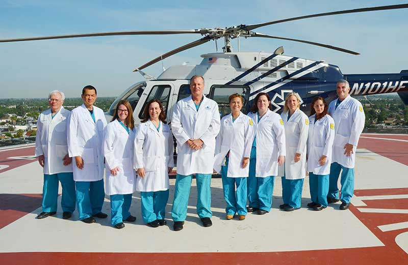 Surgery team at helipad
