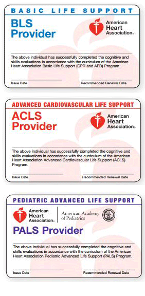 Photos of BLS/ACLS/PALS cards