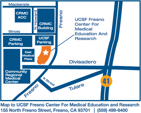 Elevated map to the UCSF Fresno Center