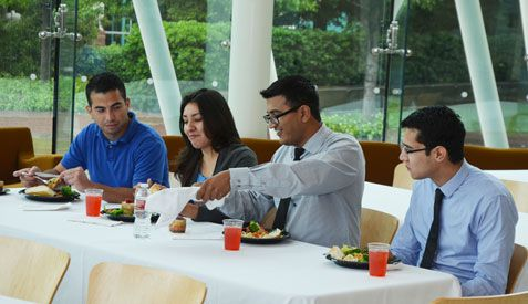 Students having lunch at annual recognition luncheon