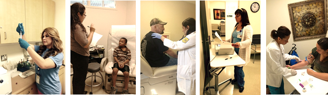 Picture montage of researchers with patients at the Clinical Research Center