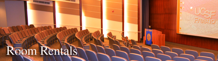 Room Rental banner showing auditorium