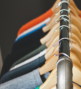 shot of clothes rack with suits