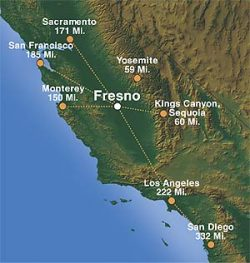 Map of California with Fresno in relation to other cities
