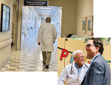 Picture of Dr. Gene Kallsen walking down a hallway