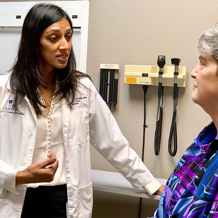 Farah Karipineni, MD, MPH, with Rita Locke of Coalinga
