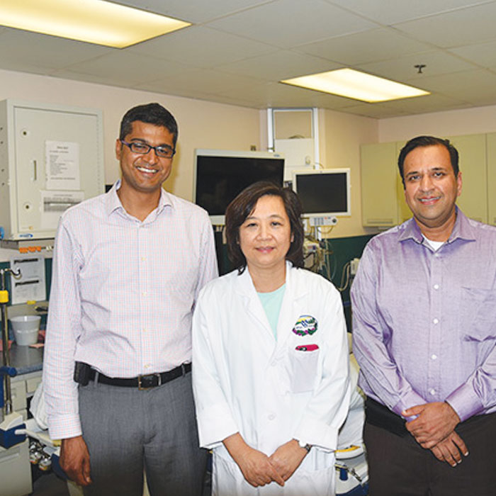 L to R: Drs. Saligram, Wong and Prajapati Photo: Will McCullough, VACCHCS