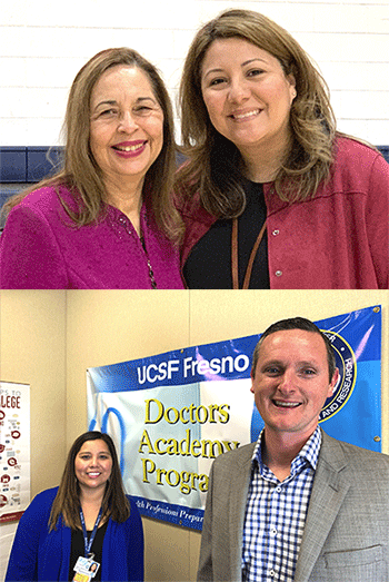 Top: Katherine Flores, MD and Emy Phillips Below: Mark Fowler, Caruthers High School principal; Stephanie Huerta Alvarez, DA and JDA coordinator at Caruthers