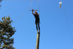 jumping off telephone pole to trapeze bar at wonder valley
