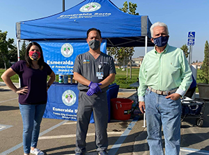 Fresno Councilmember Esmeralda Soria; UCSF Fresno's Kenny Banh, MD; and Rep. Jim Costa at a mobile testing event