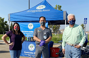 L to R: City of Fresno Councilmember Esmeralda Soria, Kenny Banh, MD, and Congressman Jim Costa at a mobile testing event