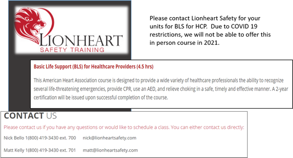 Lion Heart Safety Training BLS Info