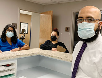 Muhammad Shoaib Khan, MD, (foreground); Sireesha Mudunuri, DO, (left); and Crystal Sauceda, medical assistant, at United Health Centers of the San Joaquin Valley (UHC) in Parlie