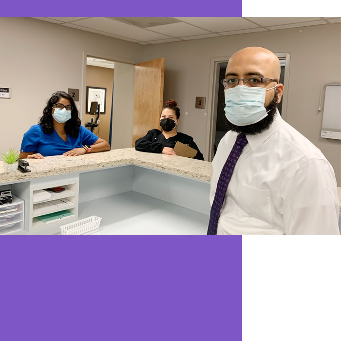 Muhammad Shoaib Khan, MD, (foreground); Sireesha Mudunuri, DO, (left); and Crystal Sauceda, medical assistant, at United Health Centers of the San Joaquin Valley (UHC) in Parlier.